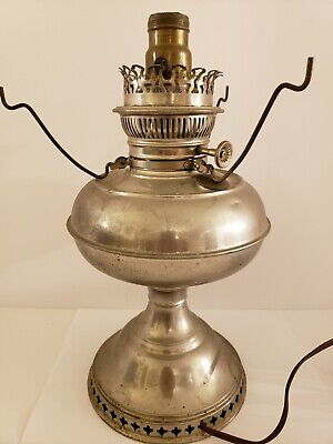 Antique 1800's Nickel Victorian Oil GWTW Banquet Table Lamp Converted Electric
