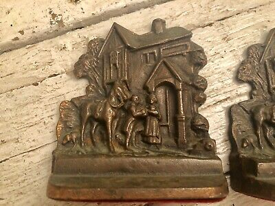 Vintage Antique Heavy Old PAIR Cast Iron Bookends House Farmhouse Man and Woman