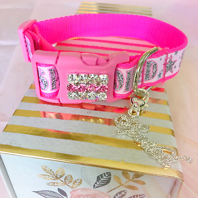 ~Spoiled in Pink Stars~ Quick Release Name Bling Dog Pet Collar Wholesale USA