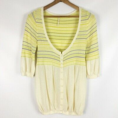 FREE PEOPLE | yellow stripe bubble cardigan 0382 Small Button Lightweight