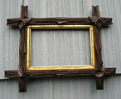 Unusual Small Antique Adirondack Black Forest Picture Frame 4 x 6 1/2