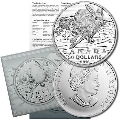 Canada 2016 Arctic Hare Snowshoe Rabbit Wildlife Conservation $50 Silver Pf Coin