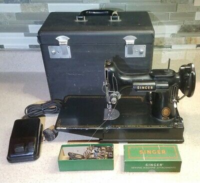 JUST SERVICED! Vintage Singer 221 Featherweight Sewing Machine 1955, Case, Pedal