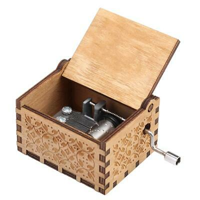 Retro Wood Hand Cranked Music Box Xmas Party Gift Household Decor Ornament N#S7