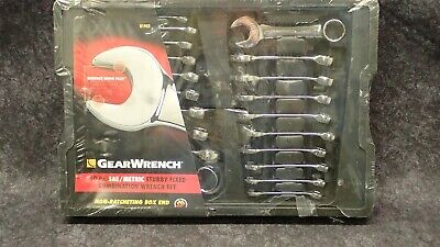 20pc GEARWRENCH RATCHETING COMBINATION RATCHET WRENCH SET SAE /& METRIC 35720