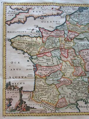 France w/ cherubs 1711 Cluverius lovely decorative engraved map hand color