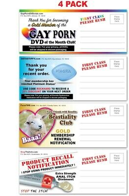 4 PACK - Adult PRANK Mail Postcards - FUNNY Joke Revenge Gag Gift Love Gay Porn