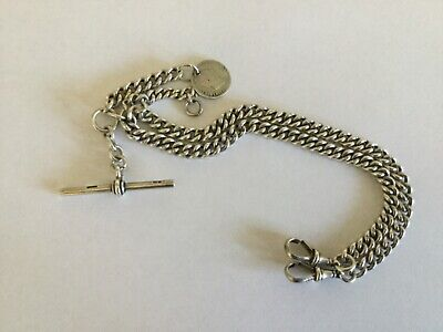 Heavy Antique Hallmarked Solid Silver Double Albert Pocket Watch Chain.