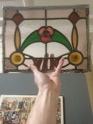 Vintage Stained Glass Window Panel Architectural Antique Old Art Deco Wooden