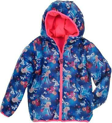 Girls DHQ1011 Disney Frozen Hooded Reversible Jacket Size: 4-8 Years