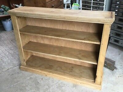 """Salvaged Old 4' 2"""" By 3' 1"""" Waxed Pine Bookcase With Three Shelves"""