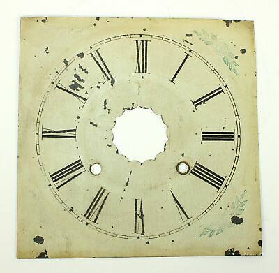 "Clock Dial- 8-3/8"" Square Painted Metal - Antique - Gg110"