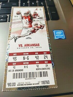 ALABAMA Crimson Tide vs Arkansas Football ticket (10/26)