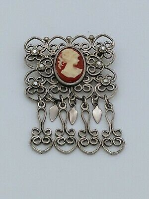 Vintage Victorian Style Silver Shell Cameo Lady Face Pin