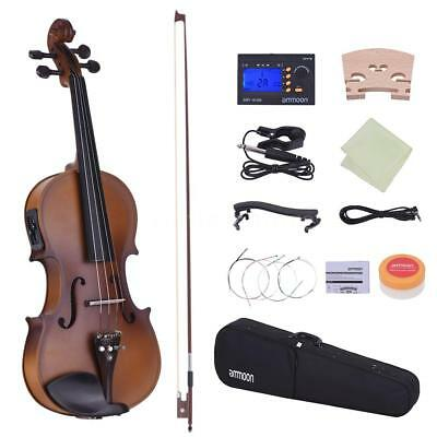 ammoon Full Size 4/4 Acoustic Electric Violin Fiddle Solid Wood w/ Accessories