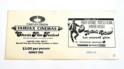 Vintage Hollywood Cineplex Odeon Classic Film Ticket #4 - Finian's Rainbow