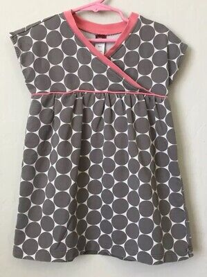 Tea Collection Girls 4 Dress Grey Pink White Polk A Dot Boutique Knee Length