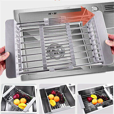 Telescopic Stainless Steel Dish Drying Rack Drain Basket  Kitchen Sink Organizer