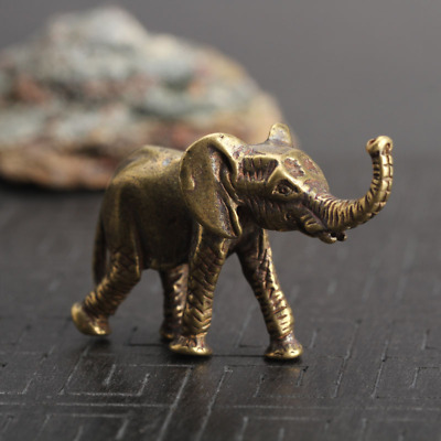 Vintage brass elephant home desk décor ornaments miniature animal statue