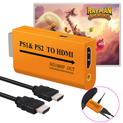 PS1 & PS2 to HDMI Video Converter HD Adapter HDMI  Audio Output for PS1 PS2 HDTV
