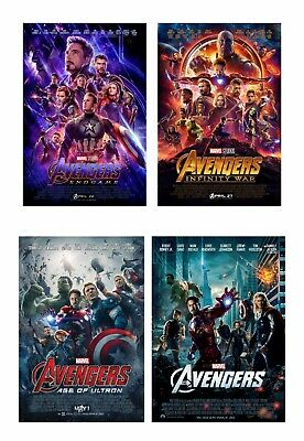 "Avengers: Endgame Movie Silk Fabric Poster 11""x17"" 24""x36"" set of 4"