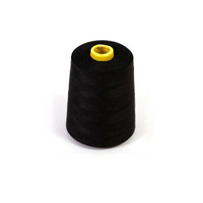 Sewing Thread 7200 Yards Black Polyester Spool Overlock Cone for Serger New