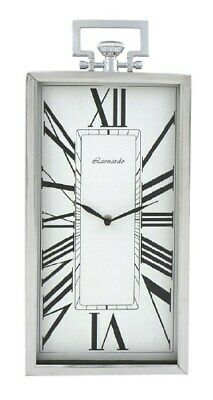 LONG SILVER METAL WALL CLOCK 48x20cm Faux Crown Hanger New Home Decoration Gift