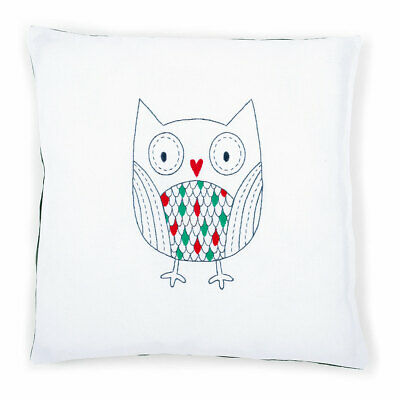 Vervaco Embroidery Kit Cushion | Owl on White | 40x40cm
