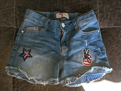 l.e.i Girls chelsea Jean Shorts Shortie Lowrise Size 8 or 10   NWT Flag//Daisy