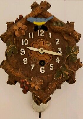 "1934 Lux Keebler ""Six Logs #206"" Animated Bluebird Cuckoo Pendulette Wall Clock"