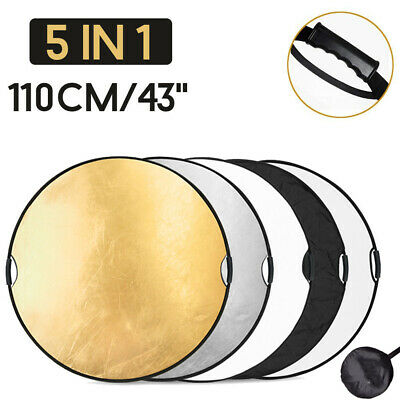 """5 in 1 43""""(110cm) Photography Lighting Reflector Collapsible + Portable Handle"""