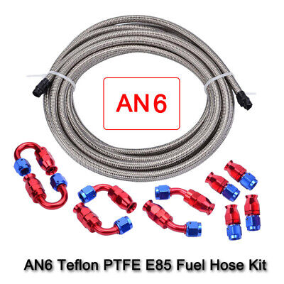 Stainless Steel AN6 Braided Fuel Hose kit Fitting Adapter Teflon Oil Cooler Kit