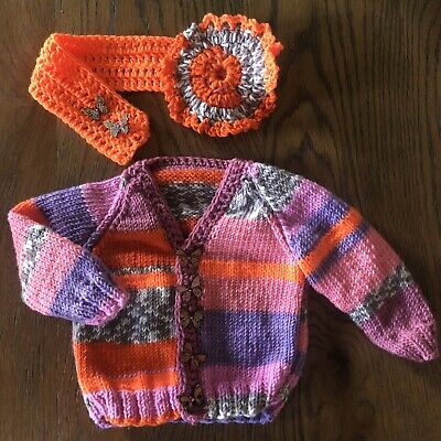 Hand Knitted Baby Girl's Multi-Coloured Cardigan & Headband Set 3-6 Months