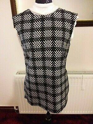 Bnwt - S'fera - Womens Black/Light Grey  Patterned Sleeveless Top - Size Large