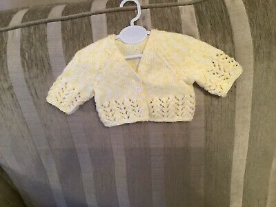 Hand knitted v neck cardigan baby girl premature 6-12months choice of colours