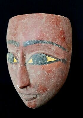 Rare African Wooden Mask Ancient Egyptian Antique Civilization Bust Mummy Bead