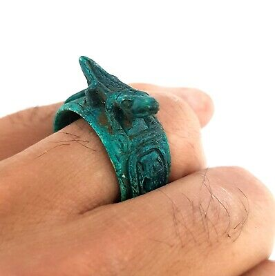 Royal Ring Sobek Figurine Egyptian Antique Amulet Faience Ancient Civilization