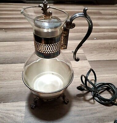 FB Rogers Silver Company Model#1359E Silver Plate Glass Tea Warmer Electric
