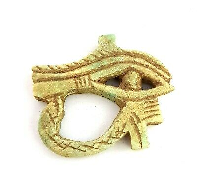 Ancient Egyptian Civilization Amulet Wedjet Horus Eye Figurine Antique Necklace