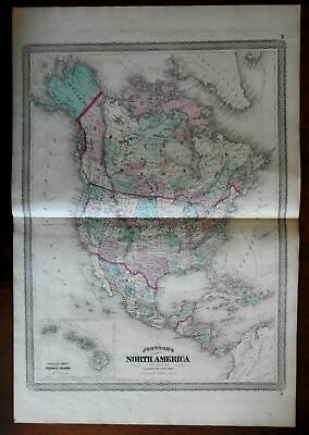 "North American continent ""New Columbia named 1867 Johnson large uncommon map"