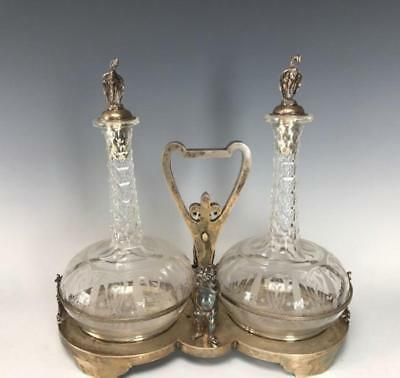 19th C. Tiffany Sterling Silver & Etched Glass Liquor Decanters.