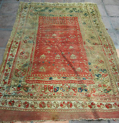 Authentic Fine Excellent Antique Turkish Red Wool hand Knotted RUG