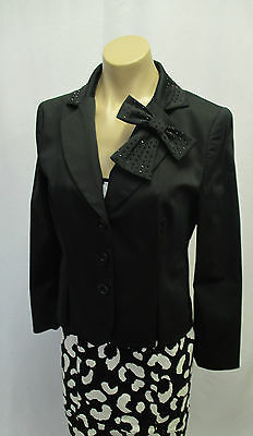 MOSCHINO JEANS Black & White Dress w/ Sequin Suspenders & Black Jacket - Size 44