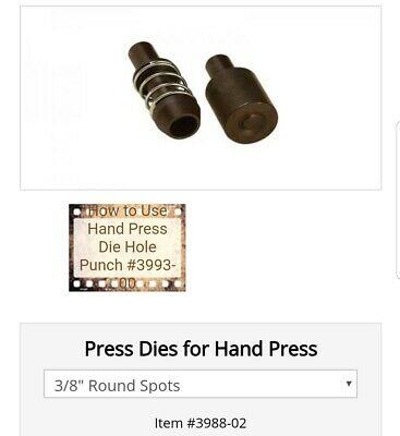 Tandy Leather Hand Tool Die Press 3988 Round Spot Kit New