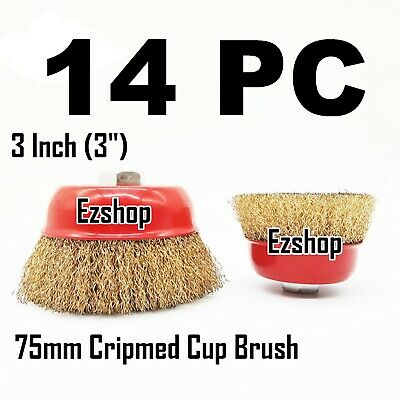 "14 PC 3"" x 5/8"" Arbor FINE Crimped Wire Cup Wheel Brush - For Angle Grinders"