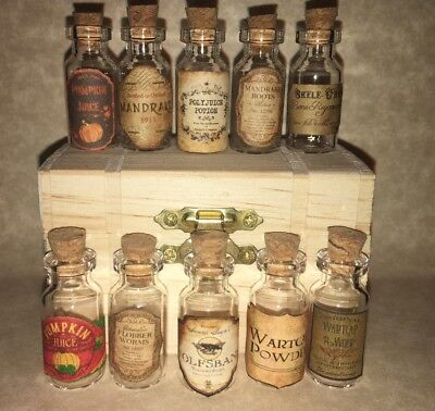"""LABELS ONLY Tiny Less Than 1""""Halloween For Potion Bottle Harry Potter Party Prop"""