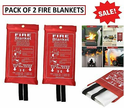 2 PACK Quick Release Home & Office Safety Large Fire Blanket In Case 1m X 1m RED