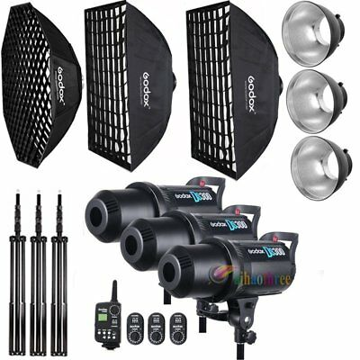 3Pcs Godox DS300 300W Studio Strobe Flash Light Trigger Softbox with Grid Kit