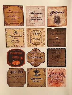 """12 STICKER POTION BOTTLE LABELS 2"""" Apothecary Harry Potter Party Prop Witch"""