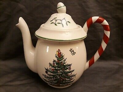 Spode Christmas Tree Peppermint Handle Teapot *New In Box!* Ships For Free!